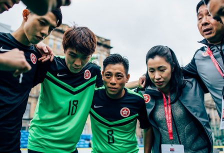 Team Hong Kong huddle before the start of their match against Hong Kong.  The Homeless World Cup is a unique, pioneering social movement which uses football to inspire homeless people to change their own lives. Homeless World Cup 2016 is taking place in Glasgow's George Square from July 10th to July 16th. For more information, visit www.homelessworldcup.com
